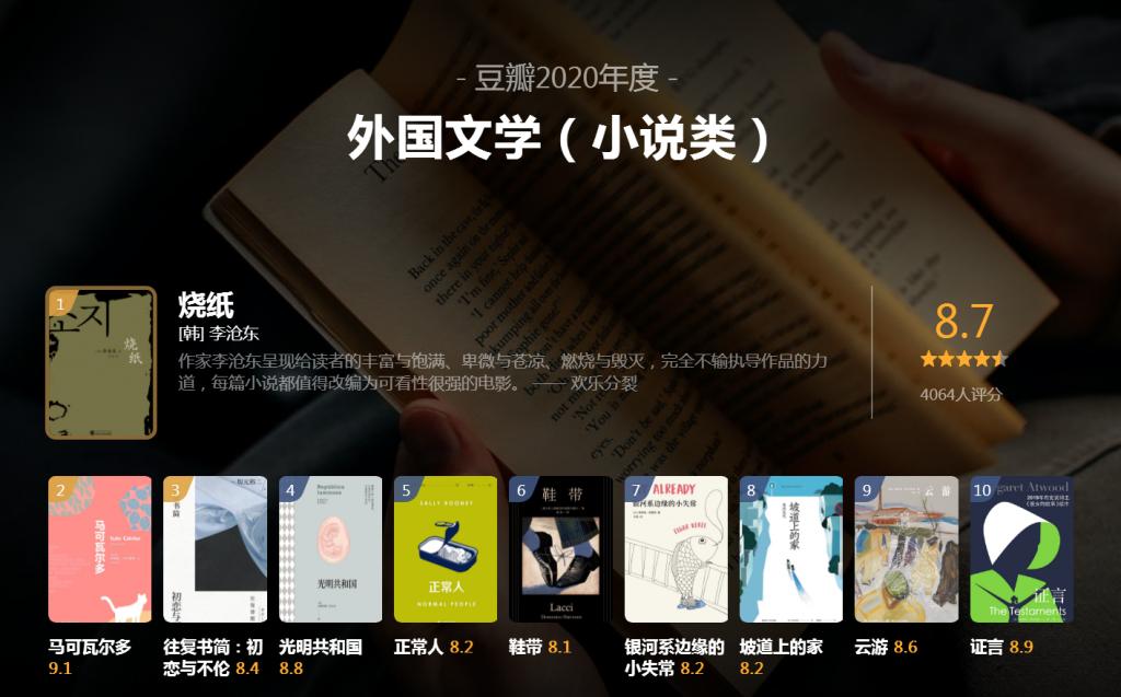 豆瓣2020年度读书榜单●中国文学(小说类)+外国文学(小说类)
